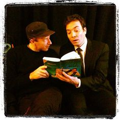 Jimmy Fallon read a book to Chris Martin. Source: Instagram user jimmyfallon