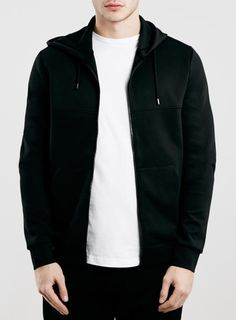 Black Technical Cut and Sew Zip Through Hoodie