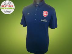 VGC ARSENAL GUNNERS NIKE Fly Emirates (L) NAVY POLO SHIRT Cotton Jersey  Camiseta 2ce1a9dde
