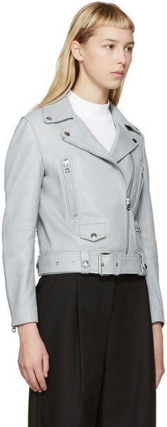 Acne Studios Grey Leather Mock Jacket