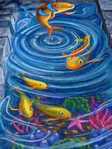 Sidewalk art~fish pond.
