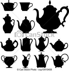 Teapots vector silhouette - csp10410408