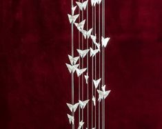Chakra Spiral Mobile 200 Cranes Courtly Love, Origami, Strong Love, Violet, Victorian Era, Kusudama, Crane, Green Colors, Spiral