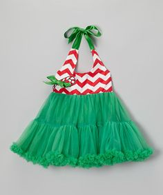 Take a look at this Green Candy Cane Halter Pettiskirt Dress - Infant, Toddler & Girls by Royal Gem on #zulily today!
