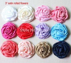"""Cheap flower, Buy Quality flowers fabric directly from China fabric flats Suppliers: 3"""" Satin Rolled Rosette Fabric Flowers Flat Back For Hair Accessories 60Pcs Free Shippingsize &nb 33.8/60u"""
