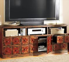 "Andover Media Console - Weathered Red finish  65""W x 19.5""D x 27""H  (55"" Flat screen TV)  $999.00  Pottery Barn"