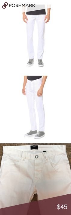 "Theory Men's Hayden Straight Slim Pants in White These versatile Theory pants are casual but cleanly tailored for a polished look. Haydin style. Five packets. Slim straight fit. Button fly. Belt loops. Brand new without tags. A little dirt from being white. Will wash right off. 33"" inseam Theory Pants Chinos & Khakis"