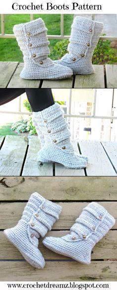Slouch Boots Crochet pattern, Slipper Pattern, US Shoe Sizes 5 to 10