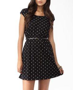 Polka Dot Knit Dress w/ Belt