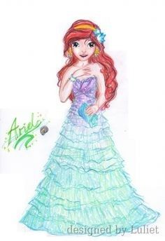"""Ariel-Disney Glamour ""-Design drawn by Luliet Mermaid Princess, Glamour, Ariel The Little Mermaid, Creative Studio, Kids Wear, Designs To Draw, Pretty Face, Models, Ariel Disney"