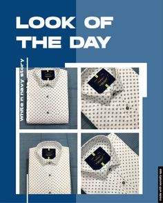 White Cotton, Navy And White, Casual Wear, Louis Vuitton Damier, Casual Shirts, Day, Pattern, Prints, Fashion