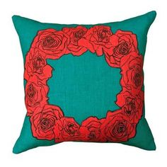 Mexican Rose in Teal Cushion Cover 45cm