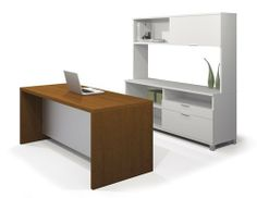 Pro-Linea Modern Executive Desk AND Credenza with Hutch Collection by Bestar. $1150.00. From premium manufacturer Bestar comes this executive desk & credenza with hutch from their brand new Pro-Linea Collection!  This collection is the perfect way to outfit your executive suite or home office in style.  Pro-Linea is unique, modern, sleek, and functional, and has all the elements to create a modern and refined work environment.  The executive desk comes in a two tone cognac...