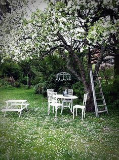 Adorable under-tree hang out spot, may put something like this right by my raised garden beds