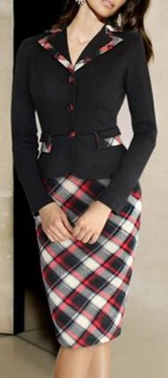 Vintage Style Black and Red Plaid Notched Long Sleeve Plaid Faux Twinset Dress