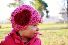 Valentine's+crochet | Pink Baby Crochet Hat With Heart Valentines Day on Luulla