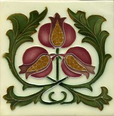 "Tile V73C - Reproduction Art Nouveau Tile  - porteous nz - Tiles are aprox. 150mm x 150mm (6"" x 6"") or 150mm x 75mm (6"" x 3"")."