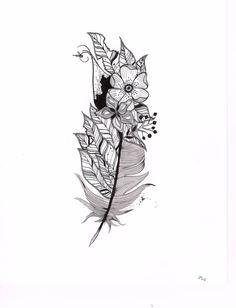 Feather illustration, tattoo idea, customizable