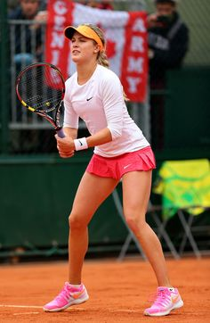 Eugenie Bouchard Photos - Eugenie Bouchard of Canada in action during her women's singles match against Julia Goerges of Germany on day four of the French Open at Roland Garros on May 2014 in Paris, France. Wta Tennis, Sport Tennis, Eugene Bouchard, Julia Goerges, Women's Badminton, Tennis Trainer, Fit Black Women, Tennis Players Female, Tennis Fashion