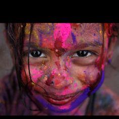 A girl celebrating Holi, Kuala Lumpur