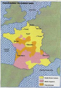 Map, Huguenot Wars of France