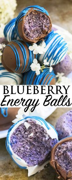 These healthy BLUEBERRY ENERGY BALLS are quick and easy to make with ingredients that are good for you such as coconut, oats and fresh blueberries. These healthy blueberry truffles are great as an after school snack or post workout snack or even a guilt f Easy Snacks, Easy Desserts, Delicious Desserts, Yummy Food, Guilt Free Desserts, Snack Recipes, Dessert Recipes, Healthy Recipes, Recipes Dinner
