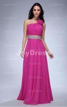 Flower A-line One Shoulder Floor-length Dress