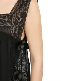 LORETTA CAPONI - SILK GEORGETTE & LACE NIGHT GOWN - LUISAVIAROMA - LUXURY SHOPPING WORLDWIDE SHIPPING - FLORENCE