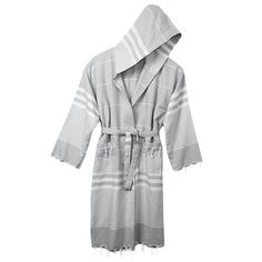Hand-woven, one-size-fists-all hooded bathrobe made of 100% natural Turkish cotton.