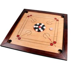 Carrom. Like a mini pool table game, I really like this idea.