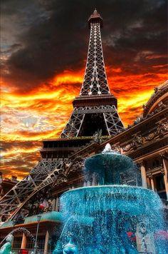 Fiery sunset over the Paris in Las Vegas