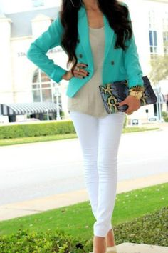 white pants, turquoise blazer, and leopard clutch. NEED this blazer. Look Fashion, Fashion Outfits, Womens Fashion, Teen Fashion, Classy Fashion, Office Fashion, Business Fashion, Skirt Fashion, Fashion Trends