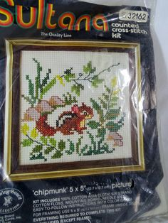 Sultana Counted Cross Stitch Kit Chipmunk  #Sultana #CountedCrossStitchKit #Chipmunk #Craft  #SuppliesTools  #Patterns  #embroiderykit  #Vintage #Kit