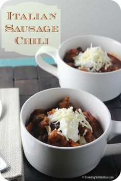 Italian Sausage Chili from CookingInStilettos.com is perfect to take off the winter chill and so simple to make.  This Italian Sausage Chili is a delicious weeknight dinner recipe!