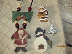 Vintage Christmas Jewelry - Wooden Wood Santa Clause Necklace - Snowman Brooch- Teddy Bear Santa Pin - Gerry Silver Christmas Tree Brooch by EvenTheKitchenSinkOH on Etsy