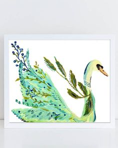 Swan Art Print painted by Bari J. in acrylics. Swan Art. Boho style. Bohemian. Gypsy