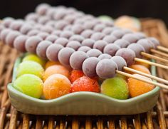 Frozen melon balls and grapes.