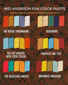 wes anderson films colors. (we'd like to point out the typo in the Darjeeling Limited)