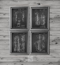Musician decor Vintage Saxophone Art set of 4 Chalkboard