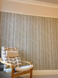 Our bedroom, trees wallpaper and just walnut dulux paint above the picture rail