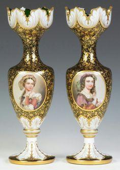 Two Bohemian Vases 19th cent. Painted porcelain plaques.