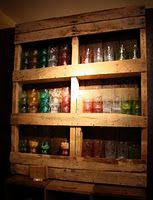 Shelves made from pallets for kitchen storage