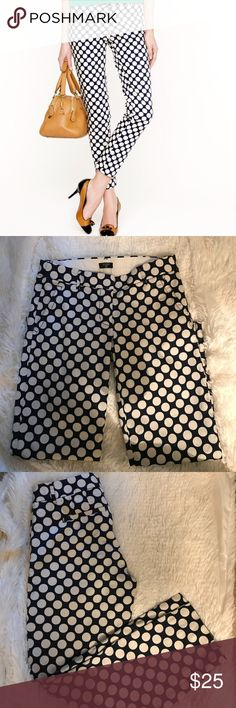 J.Crew City Fit Stretch Pants. J.Crew City Fit Stretch Pants. White & Navy Polka Dots Print. J.Crew Factory J. Crew Jeans Ankle & Cropped