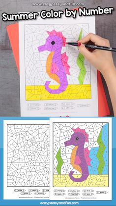These summer color by numbers are super fun worksheets for kids learning colors and numbers up to Preschool Curriculum, Preschool Learning, Kindergarten Activities, Preschool Activities, Teaching, Art Drawings For Kids, Art For Kids, Crafts For Kids, Fun Worksheets For Kids