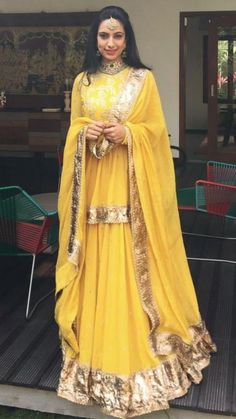 Repost from looks absolutely gorgeous in a Sabyasachi Lehenga. Mehndi Outfit, Lehenga Designs, Indian Wedding Outfits, Indian Outfits, Indian Attire, Indian Wear, Pakistani Dresses, Indian Dresses, Bridal Mehndi Dresses