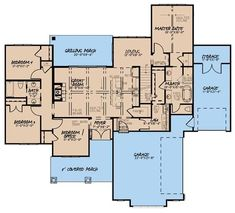 This 1-story floor plan has 1897 square feet of heated-cooled living space and includes 4 bedrooms plus an unfinished bonus room over the garage. #houseplan #bedrooms