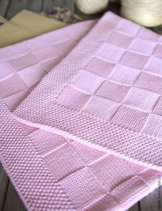 Pink Baby Blanket for Neighbours Baby Due in June - Helen Pullen - The Over the Rooftops Blanket KNITTING PATTERN is easy to knit with super bulky weight yarn and big needles. Looks like checkerboard pattern with alternating blocks of I made one just like Baby Knitting Patterns, Knitting Stitches, Baby Patterns, Crochet Patterns, Free Knitting, Simple Knitting, Stitch Patterns, Pink Baby Blanket, Baby Blanket Crochet