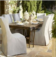 """""""Shangri-La"""" Dining Table & Upholstered Chair at Horchow. Love the idea of slipcovered outdoor furniture! Outdoor Rooms, Outdoor Dining, Outdoor Chairs, Dining Chairs, Dining Table, Outdoor Fabric, Dining Set, Fine Dining, Lane Furniture"""