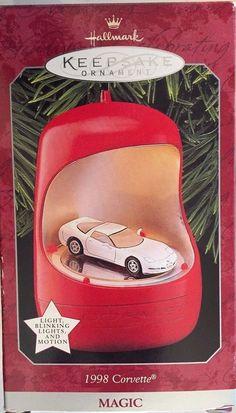 1998 Corvette Hallmark Ornament Magic Light Blinking Lights and Motion New