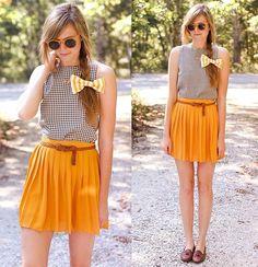 Inspiração e laçarotes - Um Ano Sem Zara - saia laranja claro e blusa preto e branco
